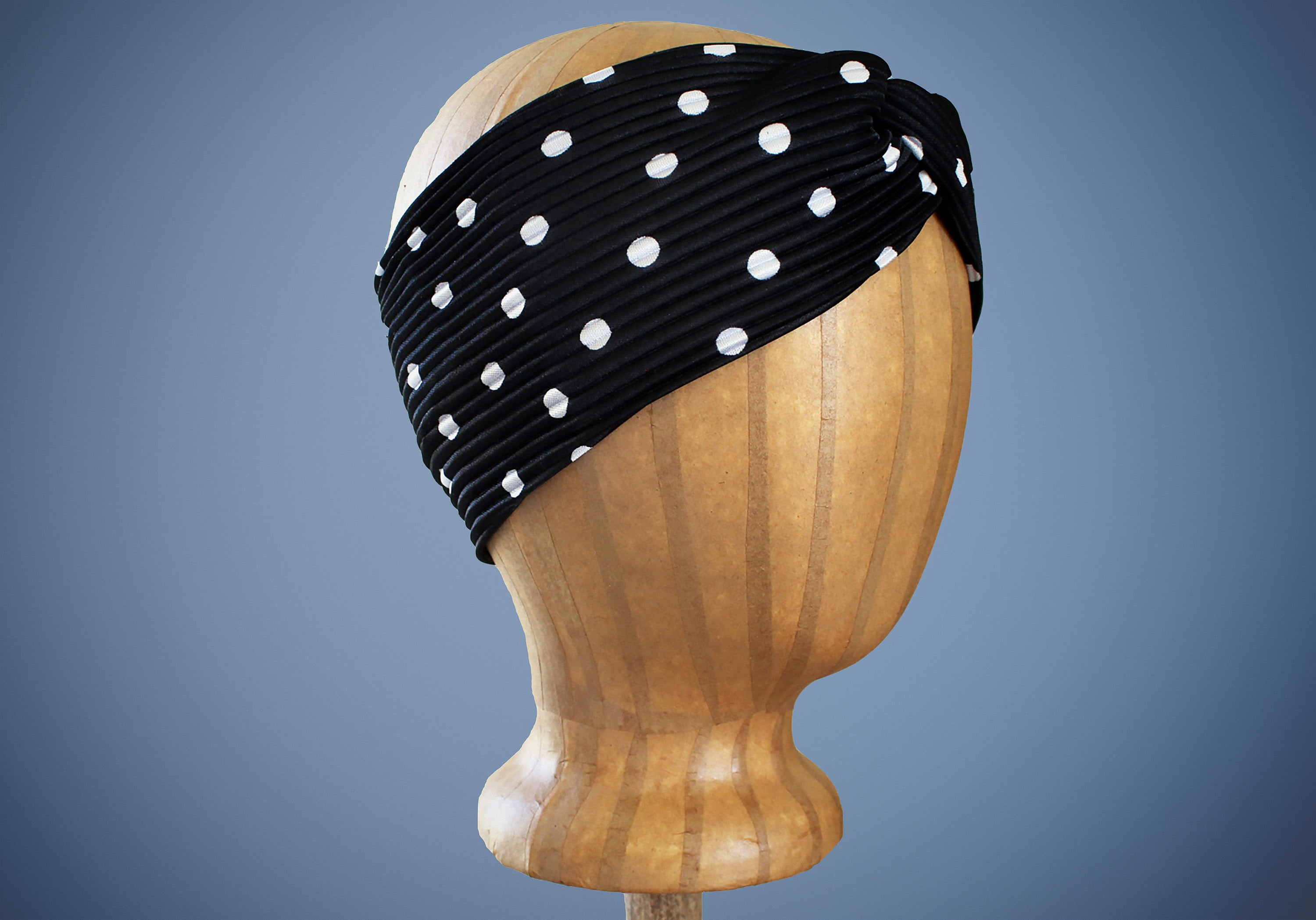 ARKWARD Black and white Polka Dot Turban Headband