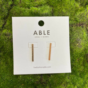 ABLE Luxe Beam Stud Earrings in Gold
