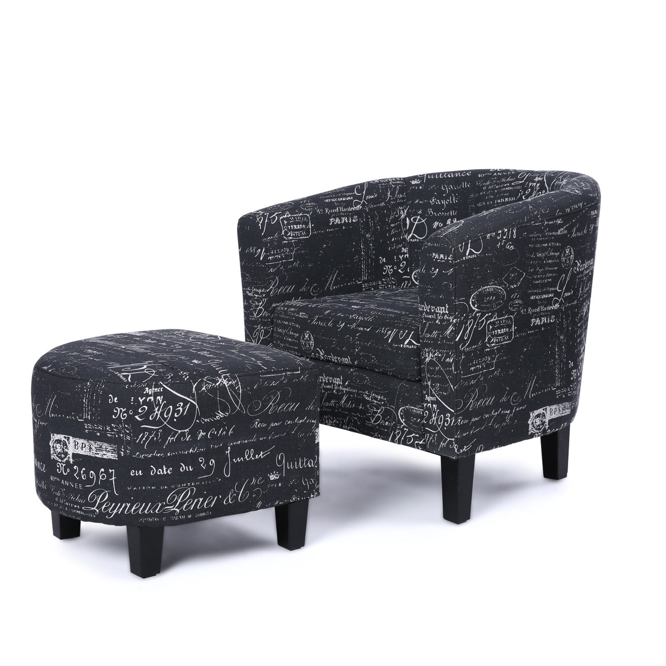 Superieur French Print Accent Barrel Chair