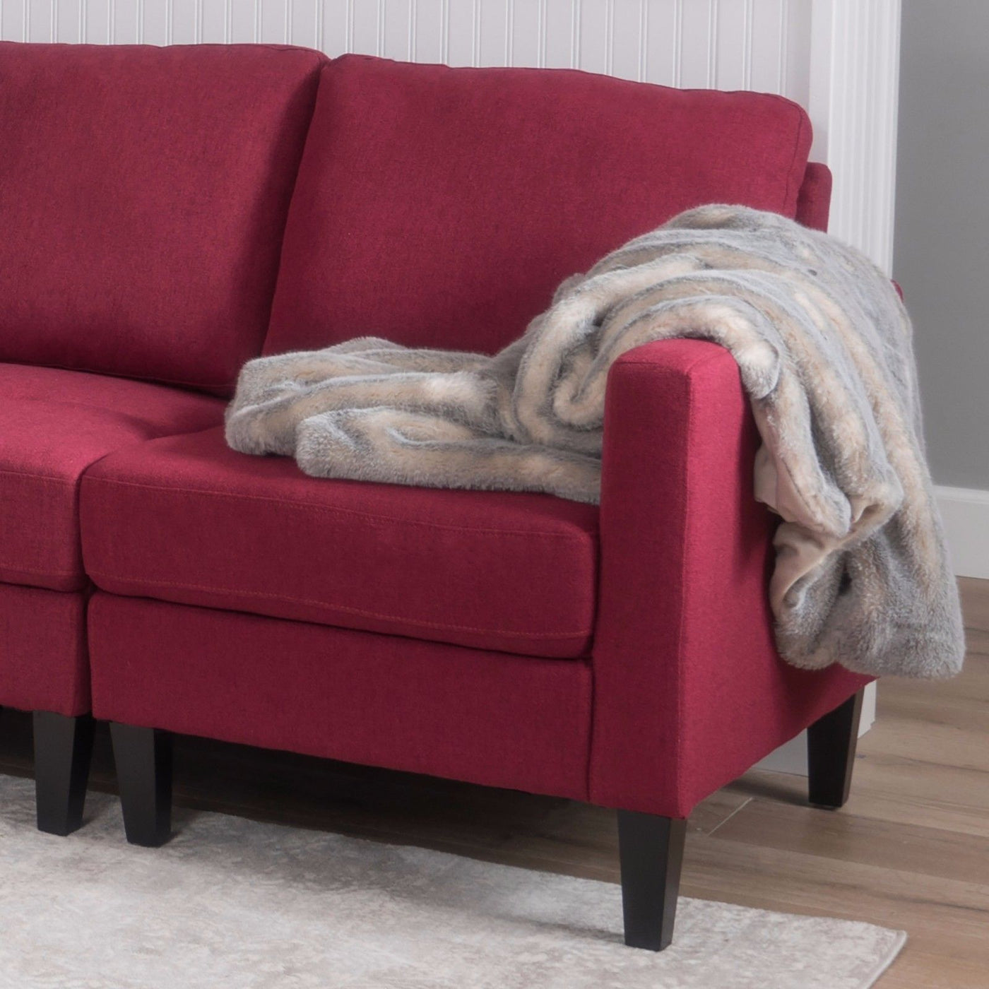 ... Deep Red Bridger 7 Piece Sectional Couch