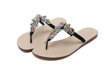 ... Aneikeh 2018 Woman Sandals Women Shoes Rhinestones Chains Thong Gladiator  Flat Sandals Slippers Crystal Chaussure Plus d283fc34e920