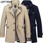 LEFT ROM 2018 New Fashion men are upscale in winter slim Fit Casual trench coat/male pure color Pure cotton long jackets S-5XL