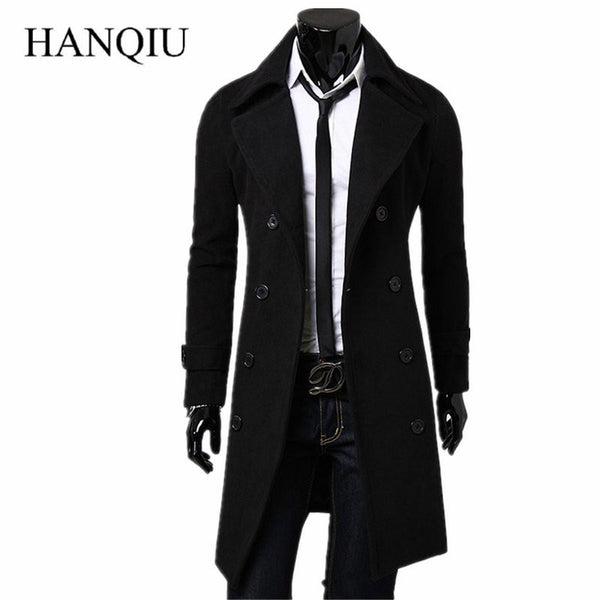 Mens Trench Coat 2018 New Fashion Designer Men Long Coat Autumn Winter Double-breasted Windproof Slim Trench Coat Men Plus Size