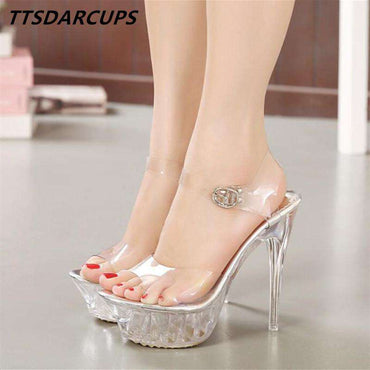 a79061a472a660 New lady s crystal high heels European and American star high waterproof  platform transparent sandals Sexy wedding ...
