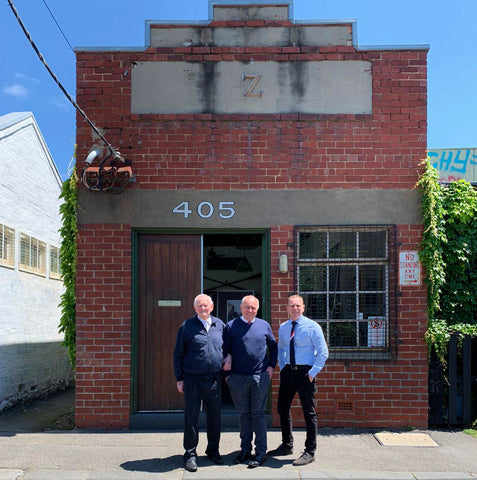 The 3 generations of the Linzner family return to the site of the original 1970s factory located at 405 Fitzroy Street, Melbourne.
