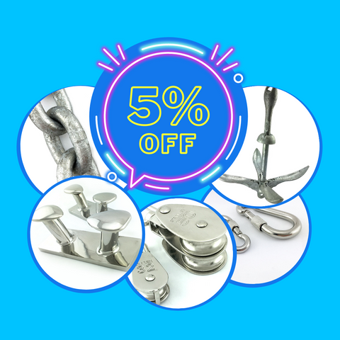 5% off Marine Fittings, Chain and Anchors