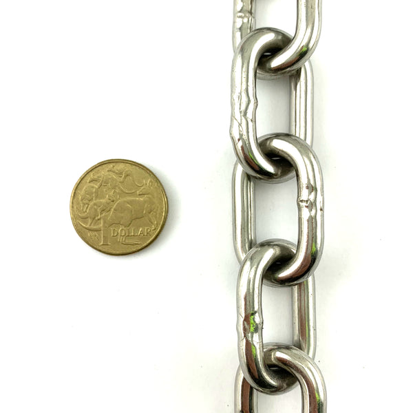 6mm stainless steel welded link chain in a 25kg bucket, with 35.8 metres of chain. Melbourne, Australia.