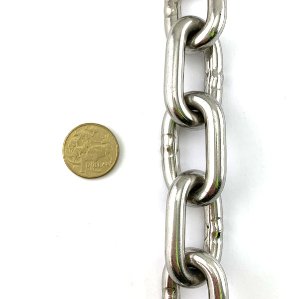 8mm stainless steel welded link chain. By the metre. Melbourne Australia