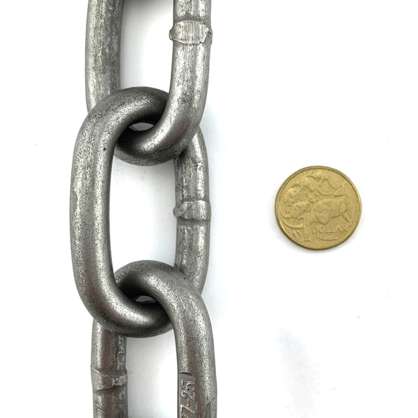AS 10mm long link plain steel trailer chain. By the metre. Melbourne, Australia.