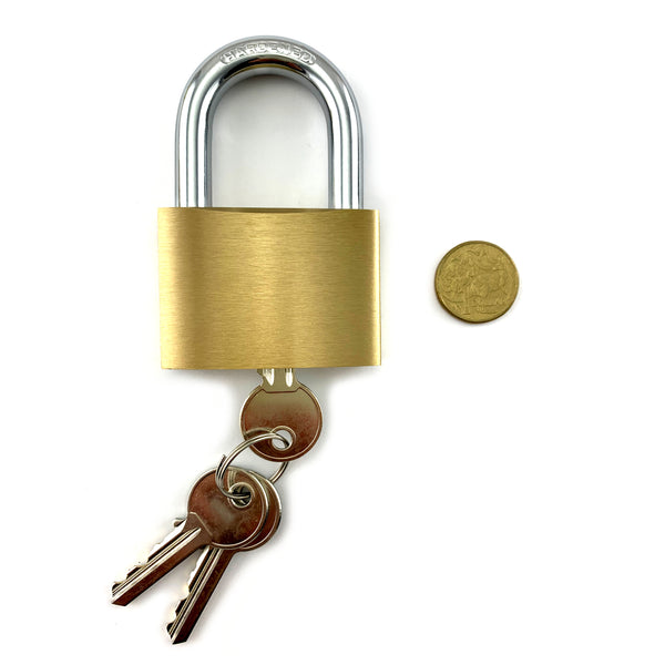 Brass Padlock, Large. Shackle size 10mm. Hardened steel and brass. Australia wide delivery.
