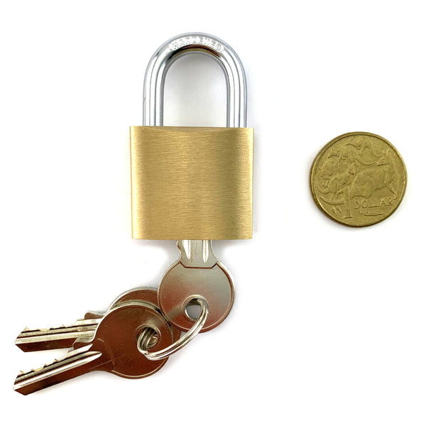 Brass and Hardened Steel Padlock, Small size, 5mm shackle. Australia wide delivery.