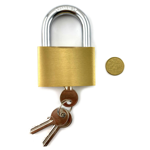Extra-large hardened steel and brass padlock. Shackle size: 12mm. Australia wide delivery.