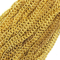Curb jewellery chain in a gold-plated finish, size: C220, quantity: 25 metres.