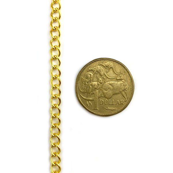 Oval curb jewellery chain in a gold-plated finish, size CO100 (1.0mm) in 2-metre lengths. Australia Melbourne