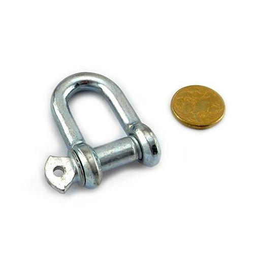 Zinc coated, galvanised D Shackle, size 8mm, untested. Melbourne Australia