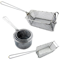 Deep frying basket range, rectangle and round shapes in chrome finish. Melbourne Australia.
