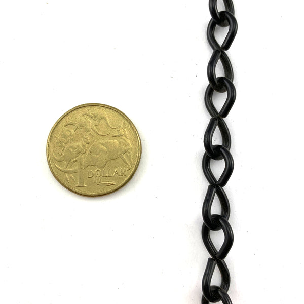 Single Jack Chain in Black, size 2mm, by the metre. Australian made.