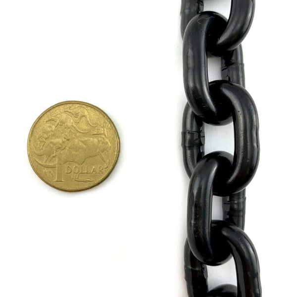 6mm black steel lifting chain, rated to 1 tonne. By the metre. Australia wide delivery or Melbourne pick-up.