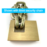 High-Security Monoblock Padlock 12mm, shown with 8mm security chain. Australia.
