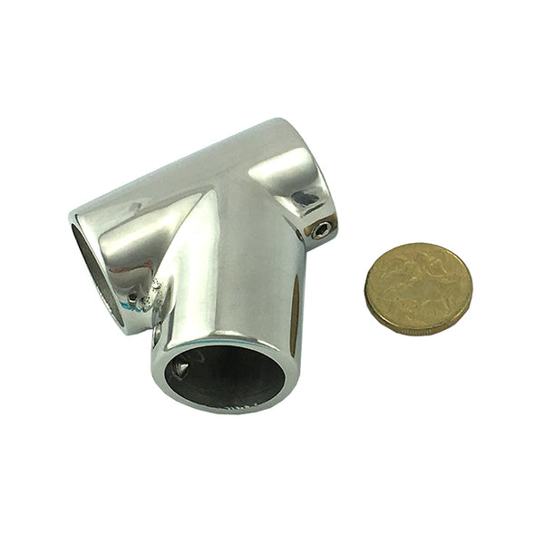 Rail Fittings - 3 Way Tee - 60 degree - Stainless Steel. Melbourne Australia.