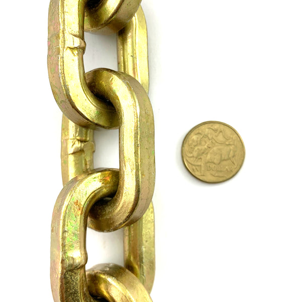 Double-hardened premium square security chain, size: 10.5mm, order by the metre. Australia.
