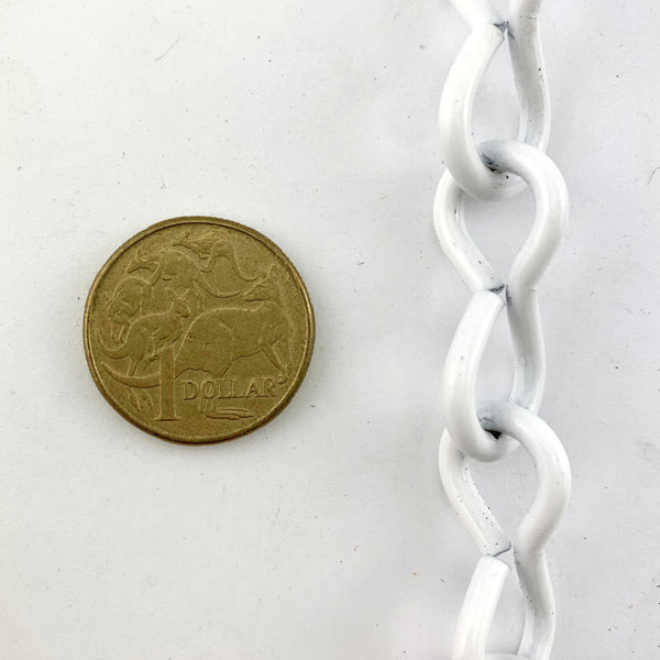Single Jack Chain, White Powder Coated, size 3.2mm. Order by the metre. Australia wide delivery.