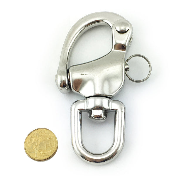 Premium quality snap shackle, size 22mm in marine grade stainless steel type 316. Melbourne, Australia