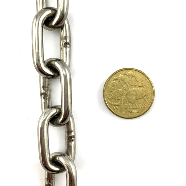 Stainless Steel Welded Link Chain - 5mm x 25kg (50 meters). Melbourne, Australia.