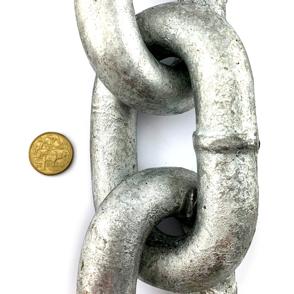 Welded Link Chain Galvanised, size: 25mm. By The Metre. Australia.