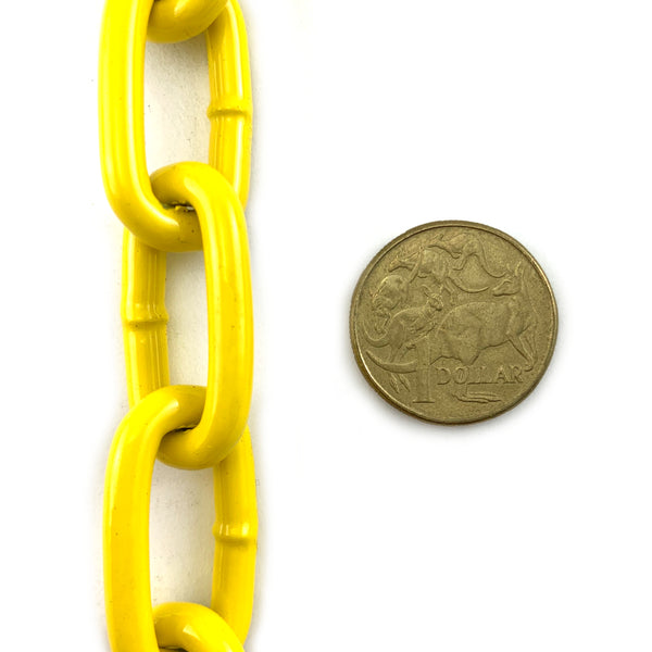 Yellow Powder Coated steel chain - 5mm. By The Metre. Australia.