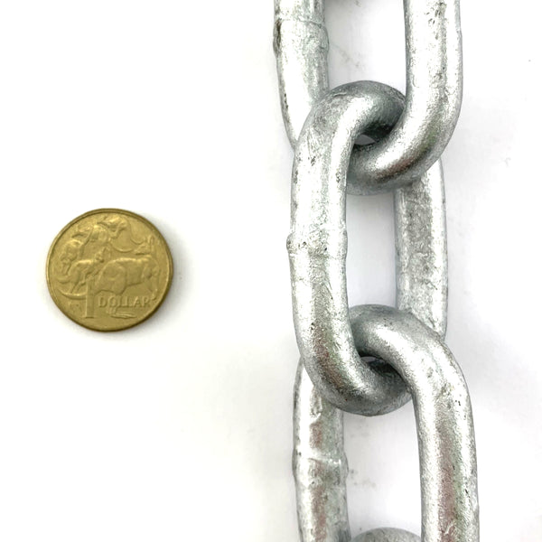 10mm galvanised welded link chain. Order chain by the metre. Melbourne, Australia.