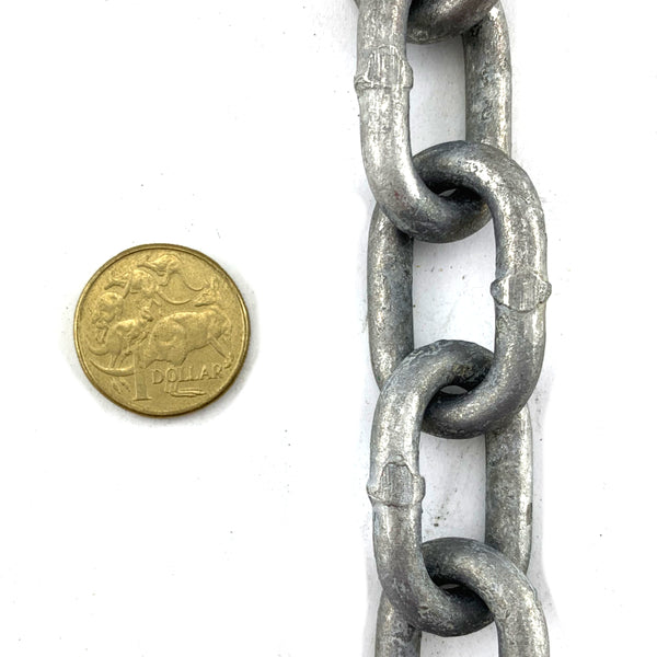 Welded Link Chain - Galvanised - 6mm. By the metre. Melbourne and Australia wide.