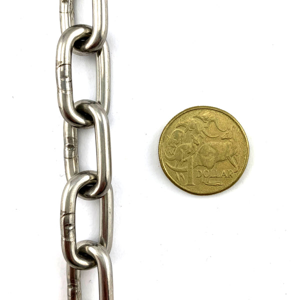 4mm Welded Link Chain in type 316 Marine Grade Stainless Steel, Melbourne Australia