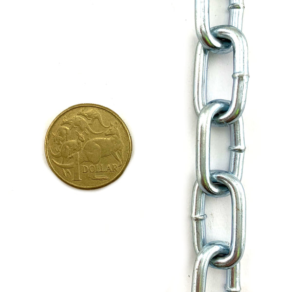 Commercial grade 4mm zinc plated welded link chain, by the metre. Australia wide delivery.
