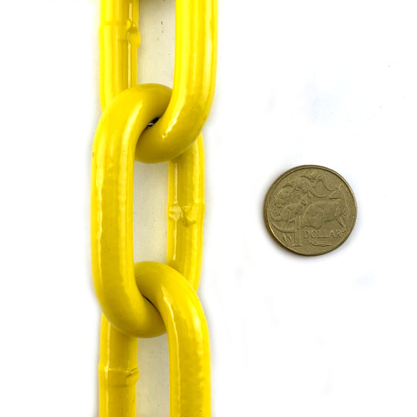 Yellow powder coated welded steel chain, size 10mm. By the metre. Melbourne and Australia wide delivery