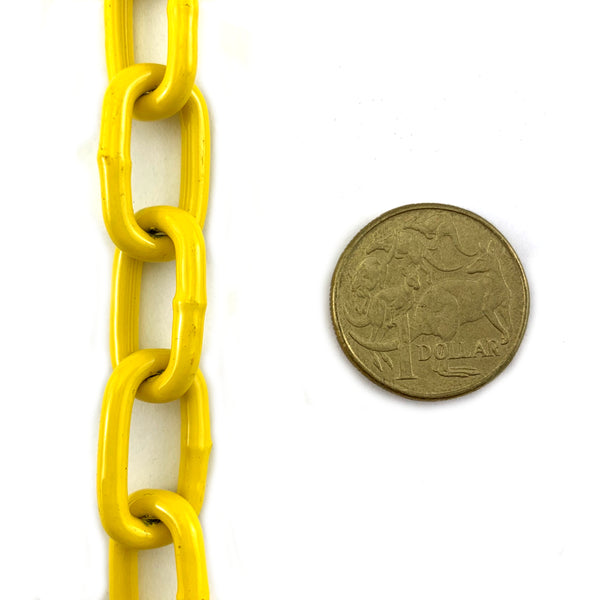 Yellow powder coated welded steel chain, size 3mm in a 25kg bucket. Melbourne, Australia.