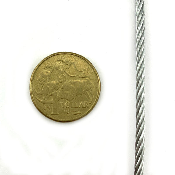 3mm galvanised wire rope (or wire cord), construction type: 7/19 x 50 metres on a reel. Melbourne, Australia.