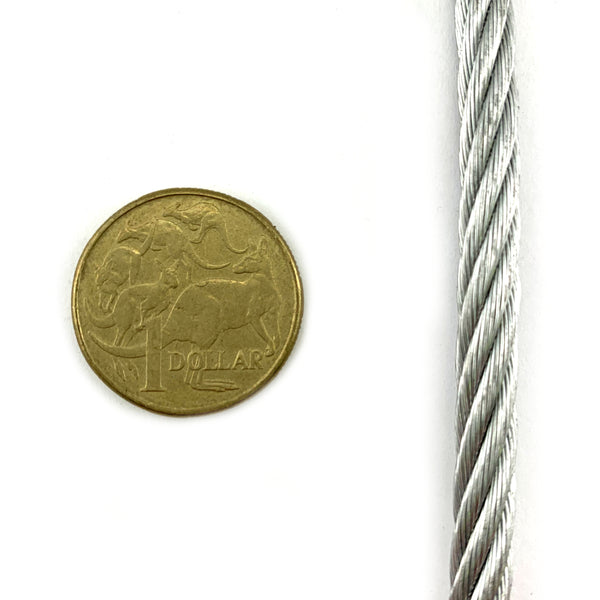 Wire Rope, Galvanised, size 6mm. Construction type: 7/19. By the metre. Melbourne, Australia.