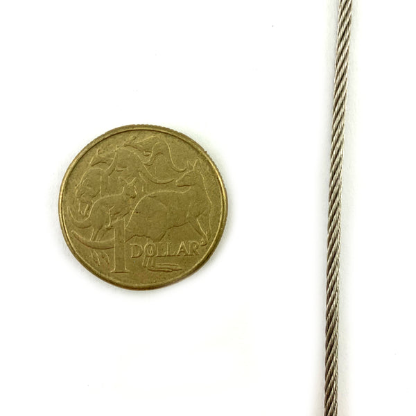 2mm marine grade stainless steel wire rope (wire cord), by the metre. Melbourne, Australia.