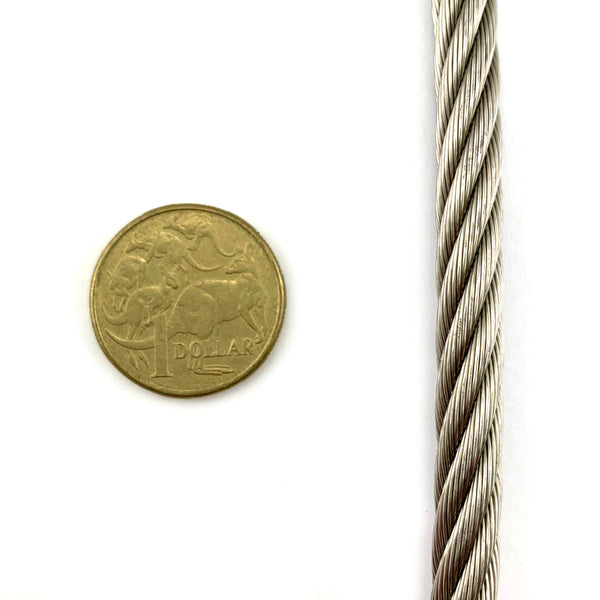 8mm (7/19 strand) stainless steel wire rope, by the metre. Australia