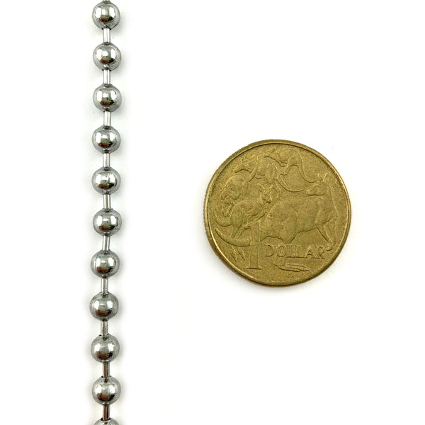 Ball Chain in Chrome size 4.5mm. From 1 metre. Melbourne Australia