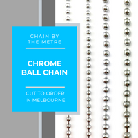chrome ball chain by the metre. Various sizes. Australia.