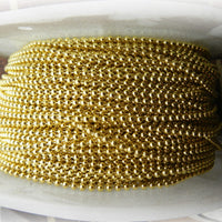 Decorative ball chain in brass finish, size 3mm on a 50-metre reel. Australia wide delivery.