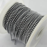 Decorative ball chain in chrome finish, size 3.5mm x 50m reel Australia