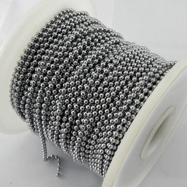 Ball Chain - Chrome - 2.4mm x 50m Reel, Australia