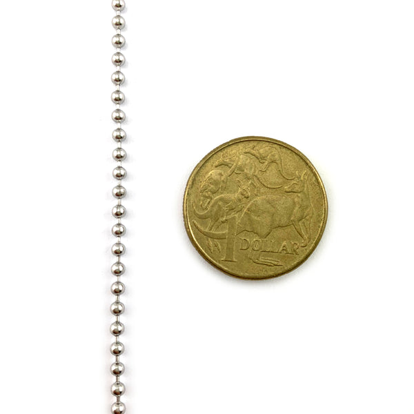 ball chain in type 316 marine grade stainless steel, size: 2.3mm, on a 30-metre reel.