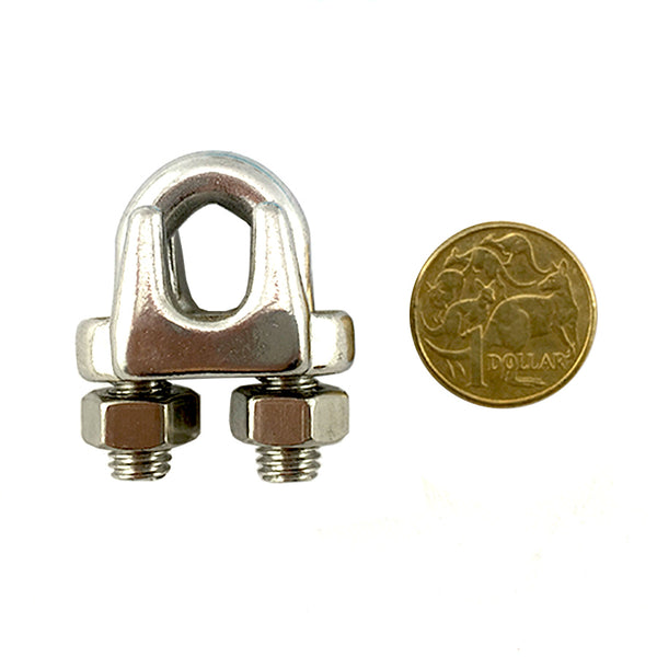 Stainless steel type 316 cable clamp, size 8mm  Australia wide delivery