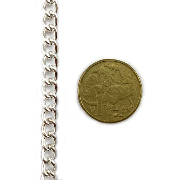 Curb Jewellery Chain in a Silver Plated finish, size C150. Melbourne, Australia.