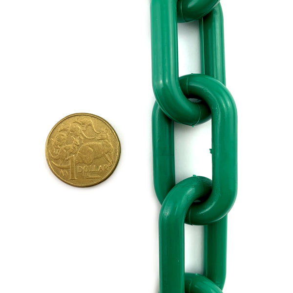 Dark Green plastic chain UV stabilised, size 8mm. Chain by the metre. Australia
