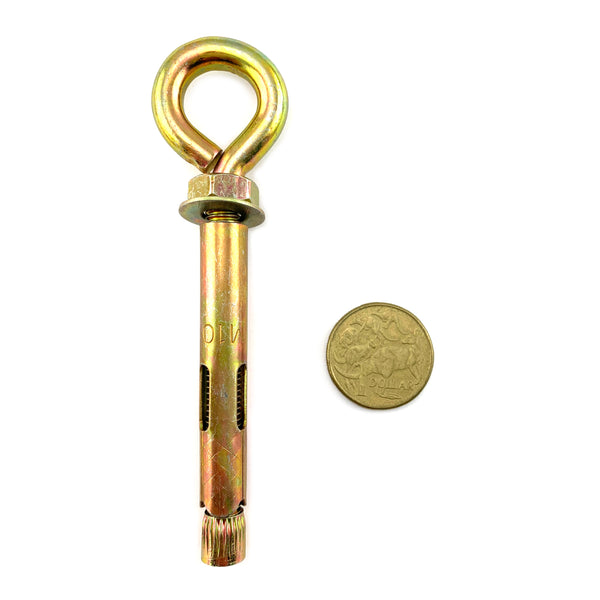 Eye anchor bolt in zinc passivated gold finish, size 8mm. Australia.